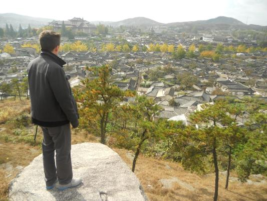 Me overlooking Kaesong, my blue-soled shoes subtly stamping out the red